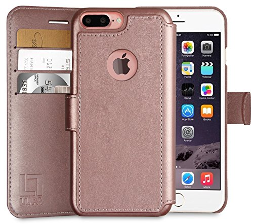 iPhone 7 Plus Wallet Case, Durable and Slim, Lightweight with Classic Design & Ultra-Strong Magnetic Closure, Faux Leather, Rose Gold, Apple 7 (Hold Rose)