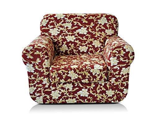 CHUN YI 2-Piece Stylish Printed Polyester Spandex Fabric Armchair Slipcover Soft Elastic Sofa Couch Cover for 1 Seat Arm Chair with Separate Cushion Cover (Chair, Coffee Flower) - Cover Printed Futon