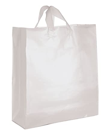9a925806a6 Amazon.com: Jumbo Clear Frosted Plastic Shopping Bags - Case of 25 ...