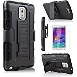 Galaxy Note 3 Case, Note 3 Case, Samsung Galaxy note 3 Case, Starshop(TM) Hybrid Full Protection High Impact Dual Layer Holster Case with Kickstand and Locking Belt Swivel Clip With Premium Screen Protector Black