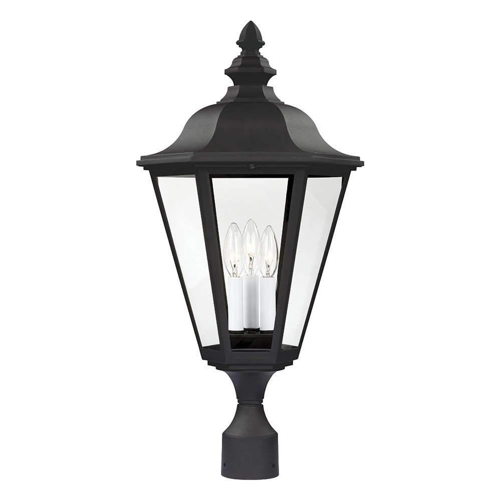 Sea Gull Lighting 8231-12 Brentwood Three-Light Outdoor Post Lantern with Clear Glass Panels, Black Finish