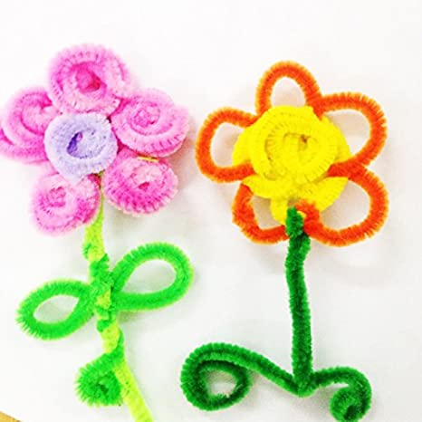 Yellow Carykon 100 PCS Fuzzy Chenille Stems Pipe Cleaners for Arts and Crafts