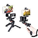 Zeadio Ergonomic Handheld Grip Stabilizer Tripod Selfie Stick Handle Steadycam Kits, Fits all GoPro and iPhone Samsung and Phones, 2 Angles Shooting Simultaneously