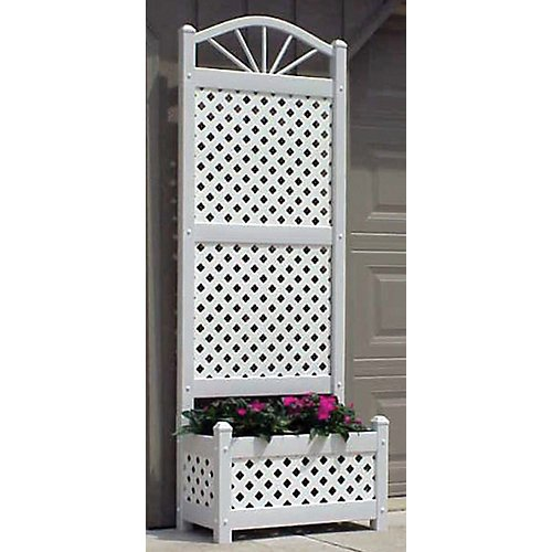 Nice Dura-Trel Sunburst Lattice Vinyl Planter Trellis w