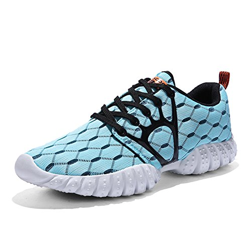 GOMNEAR Running Shoes Women Breathable Lace-up Non-Slip Lightweight Athletic Sport Sneakers by Light Blue 6WCo02vOG