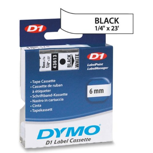 DYMO 43613 D1 Polyester Removable Label Tape, 1/4'' x 23 ft, Black on White