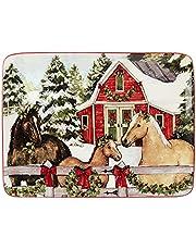 Certified International Homestead Christmas Rectangular Platter 16in x 12in, Multicolor