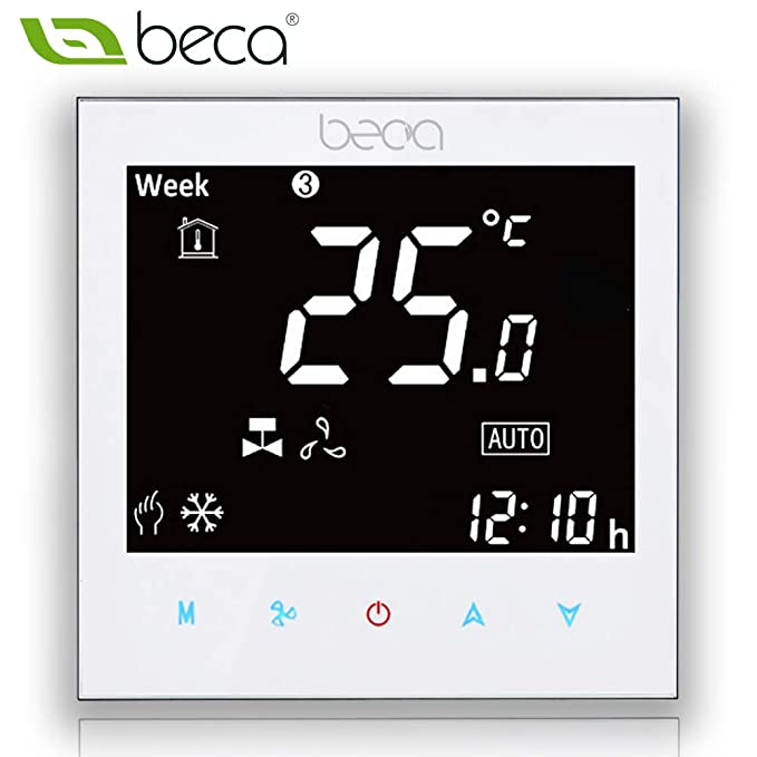 Fan Coil Thermostat, BECA 95~240VAC Four Pipe Heating/Cooling LCD Digital Touch Screen 5+2 Weekly Programmable Fan Coil/FCU/Fan Coil Unit/Central Air ...