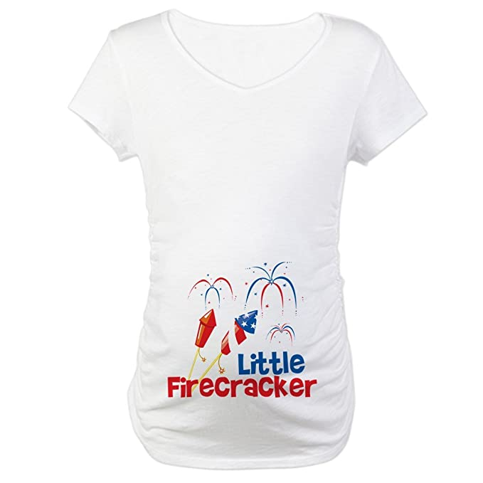 a359984a9 CafePress 4Th Of July Little Firecracker Cotton Maternity T-shirt, Cute &  Funny Pregnancy
