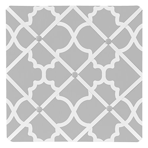 Fabric Photo Board (Sweet Jojo Designs Gray and White Trellis Print Lattice Fabric Memory/Memo Photo Bulletin Board)