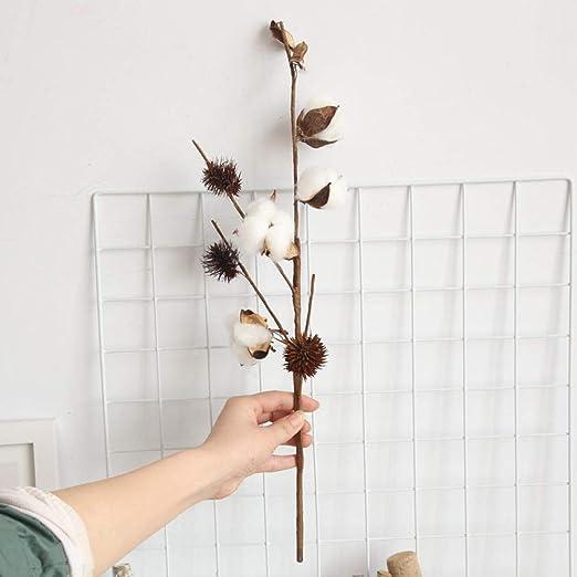 WEFLOWERSFlores de algodón secas Viento 4 Ramas de la Cabeza decoración del hogar Boda Camino Plomo Flor de la Pared Flores Falsas: Amazon.es: Hogar