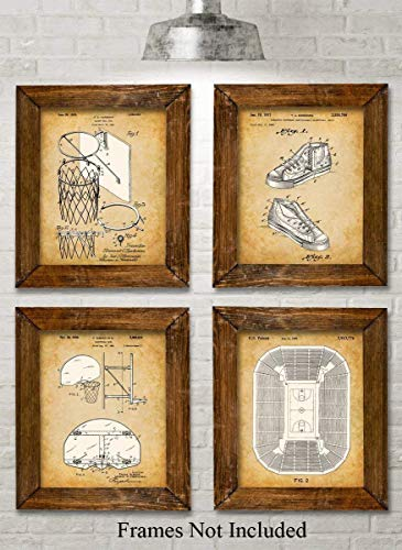 - Original Basketball Patent Art Prints - Set of Four Photos (8x10) Unframed - Makes a Great Gift Under $20 for Basketball Players or Boy's Room Decor