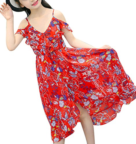 Dress Spaghetti Girl Hawaiian (Kids Girls Spaghetti Strap Off Shoulder Floral Print Maxi Beach Boho Dress Size 5-6Years/130cm (Red))