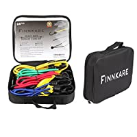FINNKARE Premium Quality Bungee Cord Assortment in portable weather resistant bag- 24 Piece Set with Canopy Ties & Bonus Cargo Net and carabiner, Plastic Coated Metal Hooks