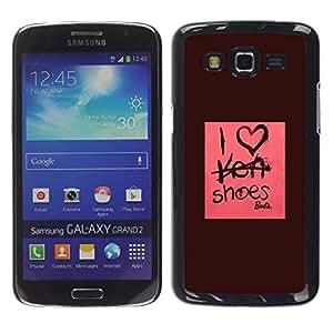 YOYOYO Smartphone Protección Defender Duro Negro Funda Imagen Diseño Carcasa Tapa Case Skin Cover Para Samsung Galaxy Grand 2 SM-G7102 SM-G7105 - Me encantan los zapatos de moda de diseño de color rosa granate