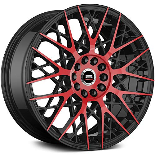 Spec-1 SP-53 Custom Wheel Gloss - Black with Red Milled Face Rims - 20
