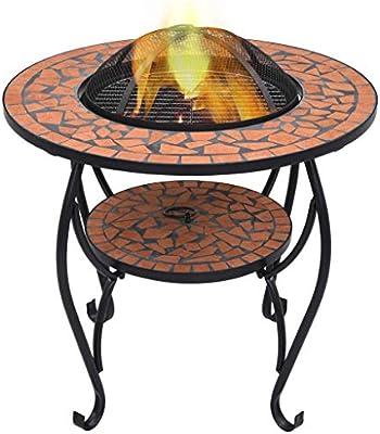 Tavolo Da Giardino Con Barbecue.Tidyard Tavolo Con Braciere A Mosaico In Ceramica Barbecue Griglia