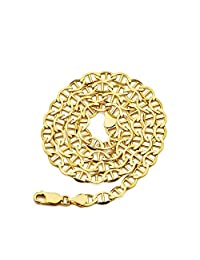 "10k Yellow Gold Solid Mariner Chain Necklace with Lobster Lock, Available in 2.5mm to 6mm, 16"" to 30"""