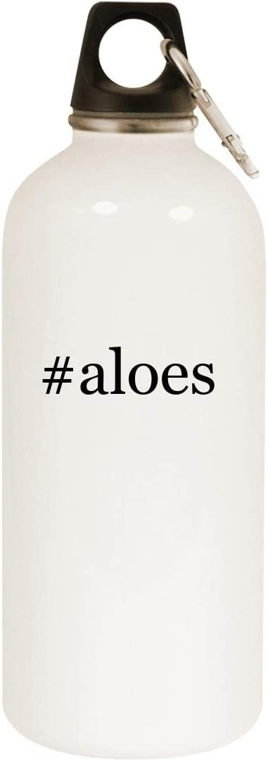 #aloes - 20oz Hashtag Stainless Steel White Water Bottle with Carabiner, White