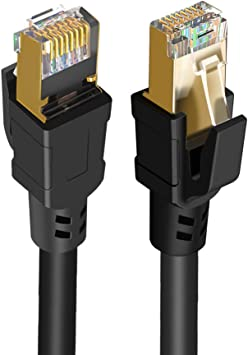8m Premium Material Length Gold-Plated CAT7 Flat Ethernet 10 Gigabit Two-Color Braided Network LAN Cable for Modem Router LAN Network with Shielded RJ45 Connectors