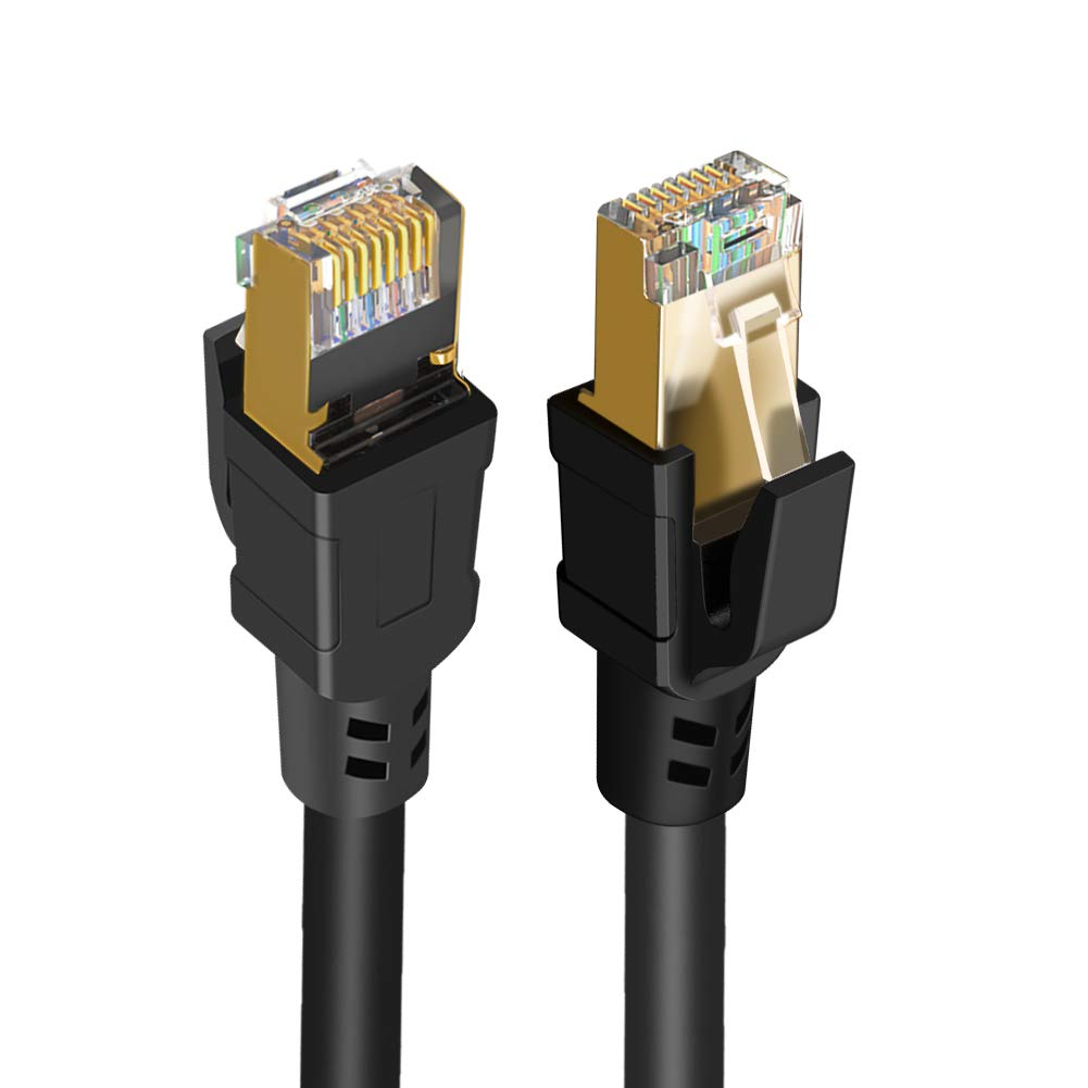 Cat 8 Ethernet Cable, CableCreation Network Patch Cable 40 Gigabit 2000MHz SFTP Internet LAN RJ45 High Speed Cable Cord for Modem, Router, PS3, PS4, Xbox, Black (26.6ft) by CableCreation