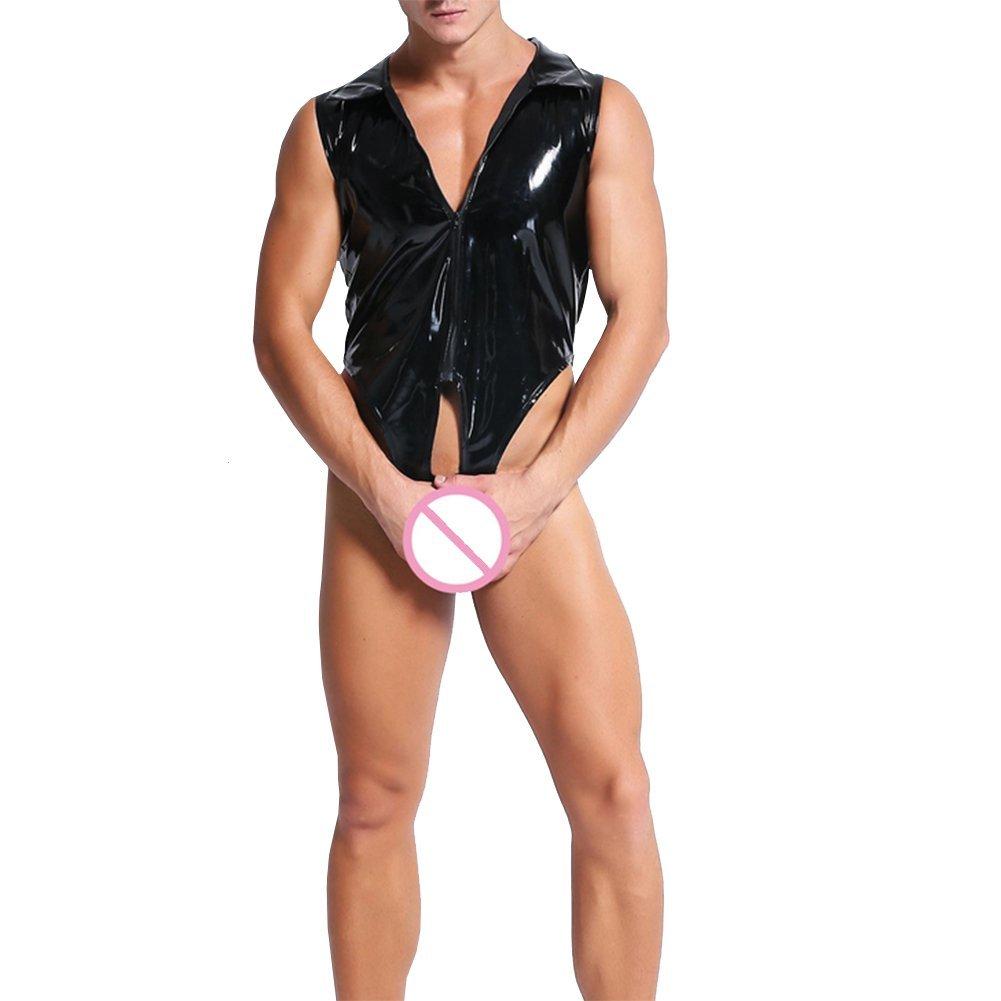 Fxwj Herren Body Wetlook Lackleder Wetlook T-Shirt Unterhemd Bikini Slip Kurz-Body Overall Bodysuit Mit Rei/ßverschluss