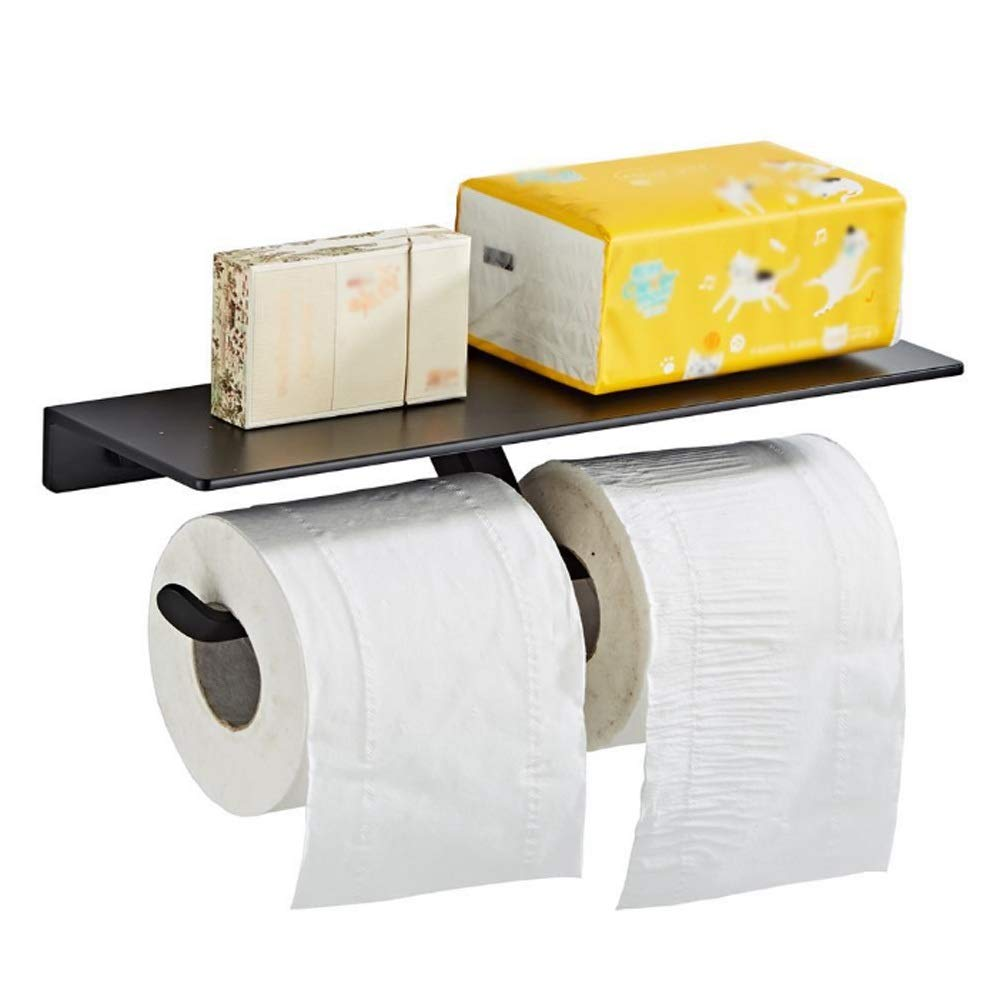 Laz Toilet Paper Holder with Mobile Phone Storage Shelf, SUS304 Stainless Steel Bathroom Paper Towel Roll Holder Wall Mount