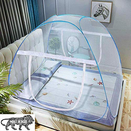 Hopz Mosquito Net Double Bed Nets for Size King Foldable Child Mosquitoes with Adults Maskito of 6 Saviours Mosquito-Net Mosquito/Machhardani (Blue/Double Bed King Size) (Blue,200 * 200 * 145 cm)