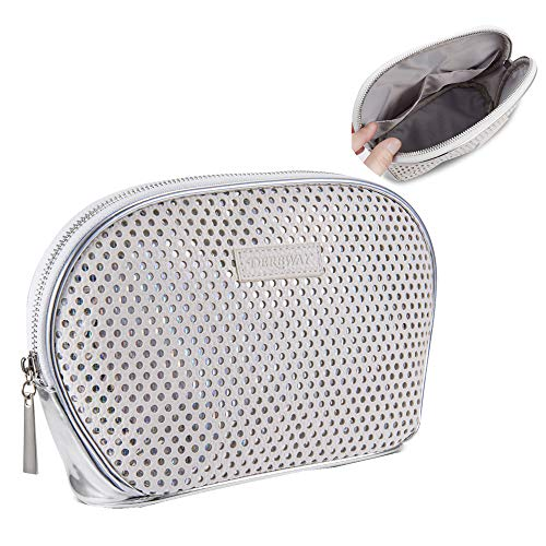 Cosmetic Bag Organizer,Derbway 2018 New 2 Layers Shinny White Cosmetic Bag,Lipsticks Brushes Organizer Bag,Ideal For Travel Cosmetic Pouch Clutch Purse With 2 Keys Cards Pockets-White/Silver