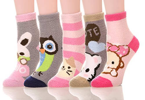 Socks Chenille Slipper (MIUBEE Women 5 Pairs Pack Super Soft Cozy Fuzzy Cute Winter Socks (Mixed Animal))