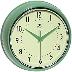 Infinity Instruments Round Green Retro Indoor Wall Clock
