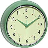 Infinity Instruments Retro 9-1/2-Inch Round Metal Wall Clock, Green For Sale