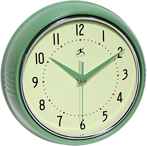 (Infinity Instruments Round Green Retro Indoor Wall Clock)