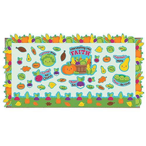 Fun Express - Harvesting His Faith Bb Set for Fall - Educational - Classroom Decorations - Bulletin Board Decor - Fall - 1 Piece