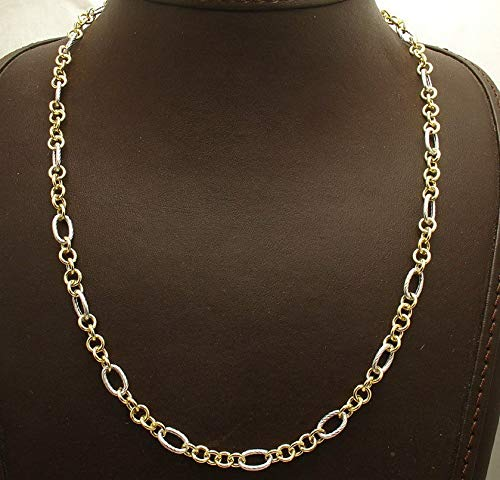 Hemau Textured Oval Circle Rolo Chain Necklace Real 14K Yellow White Twotone Gold | Model NCKLCS - 2166 | ()