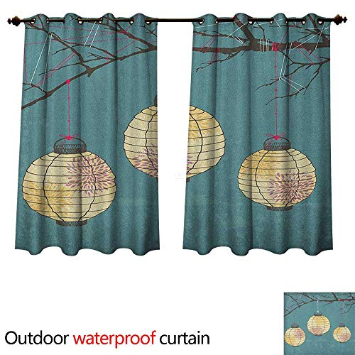 Anshesix Lantern Outdoor Ultraviolet Protective Curtains Three Paper Lanterns Hanging on Branches Lighting Fixture Source Lamp Boho W108 x L72(274cm x 183cm) -
