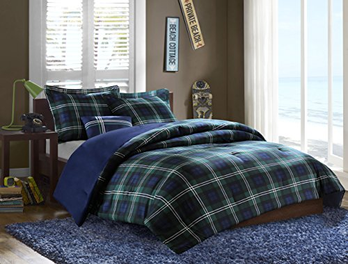 Mizone Brody 4 Piece Printed Microfiber Comforter Set, Full/Queen, Blue
