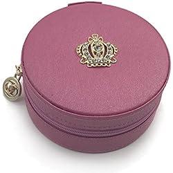 Iremico Small Portable PU Leather Travel Jewelry Box Display Organizer Storage Case (Round-Roseo)