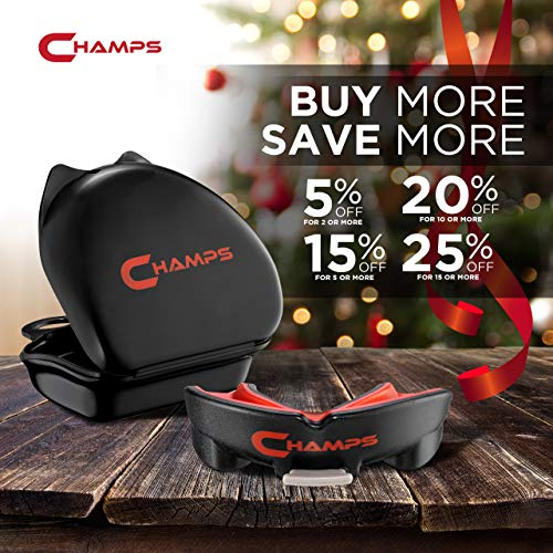 Champs Breathable Mouthguard for Boxing, Jiu Jitsu, MMA, Muay Thai, Sports, and Wrestling. Easy Fit Boxing Mouthguard Super Tough MMA Mouthguard. Combat Sports Mouthpiece