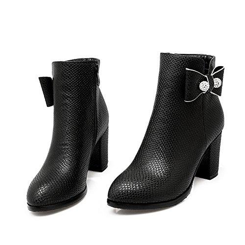 AdeeSu Gold Heels Boots Spun Black Bowknot Imitated Platform Chunky Leather Ladies rXFAr7