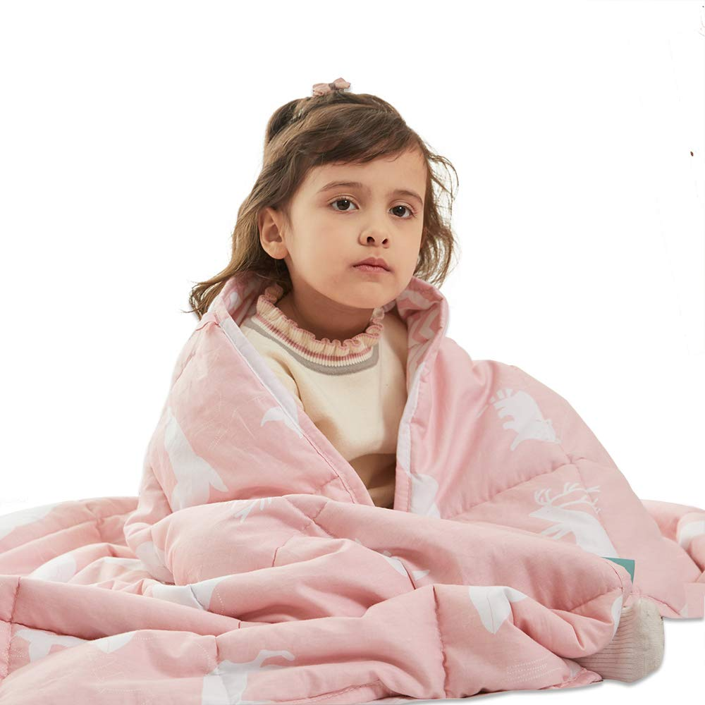 Weighted Idea Kids Weighted Blanket 7 lbs | 41'' x 60'' Cotton | Pink Animal | for Kids and Teens