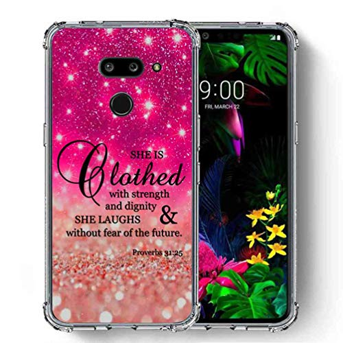 (for LG G8 ThinQ Case, SuperbBeast Ultra Slim Thin Protective Case w/Reinforced Corners Vector Floral Flowers Polka Dots [Glitter Pattern])