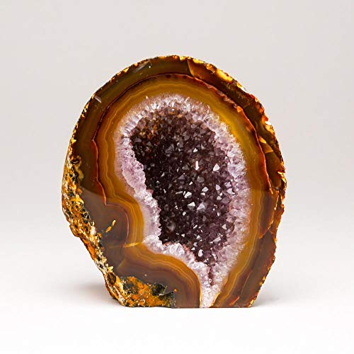 Astro Gallery of Gems Brown with Amethyst Banded Agate Geode from Brazil (1 lb)