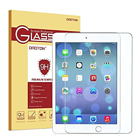 OMOTON Apple iPad Mini 3/2/1 Screen Protector - Tempered Glass Screen Protector with [2.5D Round Edge] [9H Hardness] [Crystal Clear] [Scratch Resist] (Screen Protector For Mini Ipad 1)