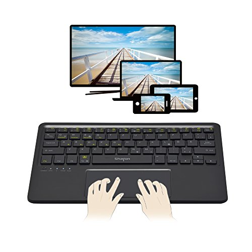 Sharon Multitouch Bluetooth - Tastatur | Multipairing bis zu 5 Geräte | Keyboard für Smart TV, tvOS / iOS / Mac OS X, Windows, Android, Android Tablet und Smartphones wie Galaxy Tab A 2016, Note 7, und alle Samsung Smart TV, wie VG-KBD2000/ZG VG-KBD1000 Kabellose Tastatur auch APPLE TV 4 kompatible | deutsches QWERTZ - Layout
