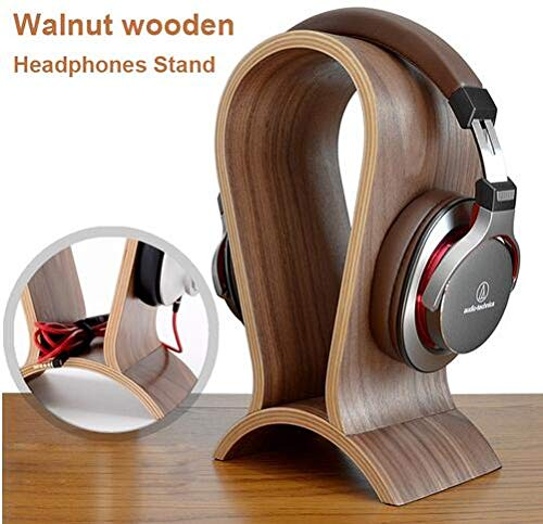Alikeke Classic Wooden Headphone Headset Stand Earphone Holder Walnut Hanger Headset Display