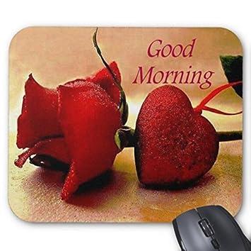 Amazon mousepad romantic morning greetings red rose love heart mousepad romantic morning greetings red rose love heart print non slip mouse mat m4hsunfo