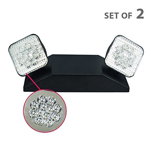 eTopLighting 2 PCS LED Emergency Exit Light - Black Body Standard Square Head UL924, EL5C-B-2