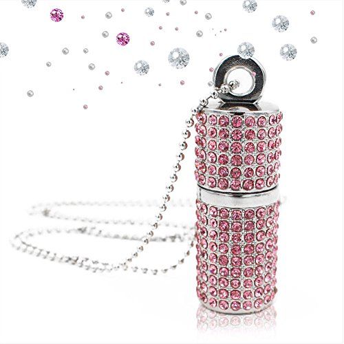 Techkey USB Flash Drive,Bling Rhinestone Diamond Crystal Glitter Lipstick Case Shining Jewelry Necklace,32GB,Sakura Pink