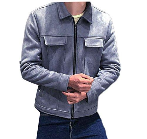 Zip Front Faux Suede Jacket - 7